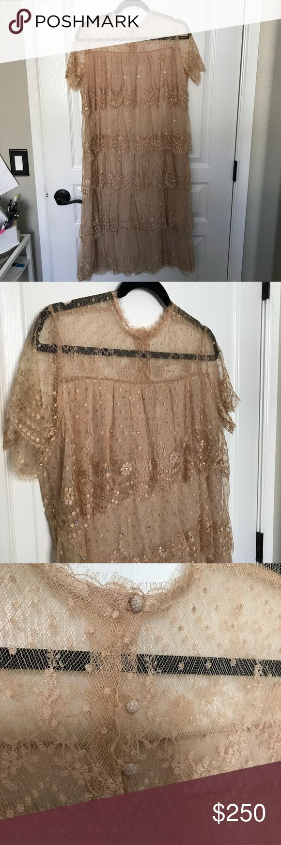 """Vintage French Lace Tan Tiered 1920s Flapper Dress French lace tiered dress from Rina di'Montella for Neiman Marcus. Features layers of soft flowy blush/nude lace with small crystal details. Snap button closure at the neck is hidden by small lace buttons. Fully lined and each lace layer is separate so it has beautiful movement. Perfect for a wedding, vow renewal, themed party, or special occasion. Length: 42"""" Bust: 18"""" Says size 14 but this is a vintage piece, size is more between 8-10. Feel…"""