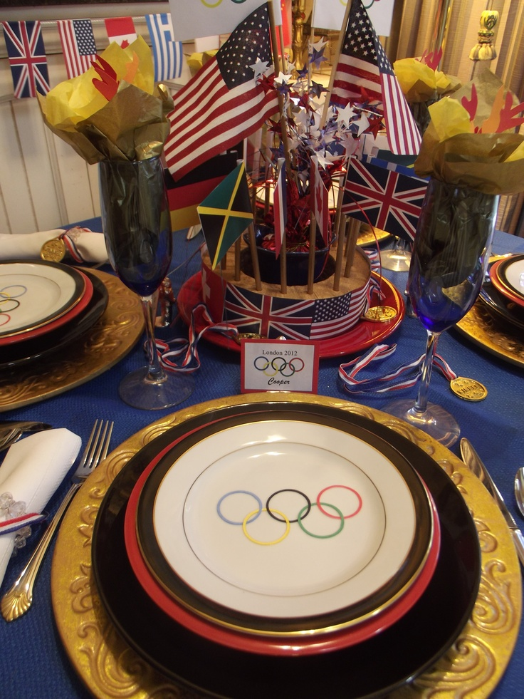 Olympic Games London 2012 place setting.   Enjoying watching the Olympics and while having dinner.   Go TEAM USA!