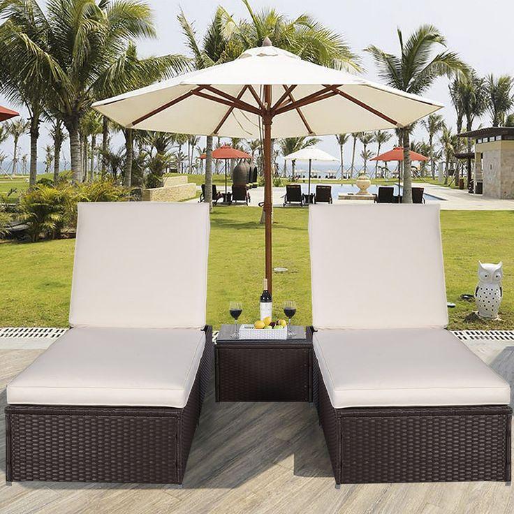 Garden Sun Lounger Furniture Rattan 2 Sunbeds Outdoor Patio Chair Table  Recliner