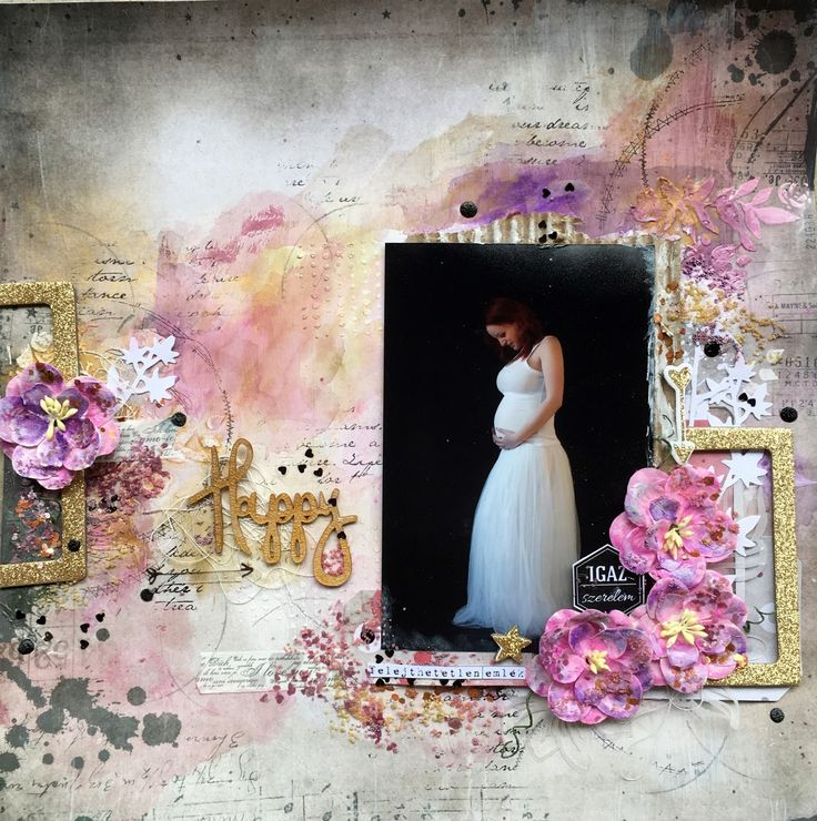 Mixed media page about my maternity. Paper by 7dots studio (homegrown collection), used 13arts products