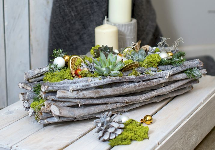 Мастер-класс: рождественская композиция в экостиле от флориста Dom de Fleur