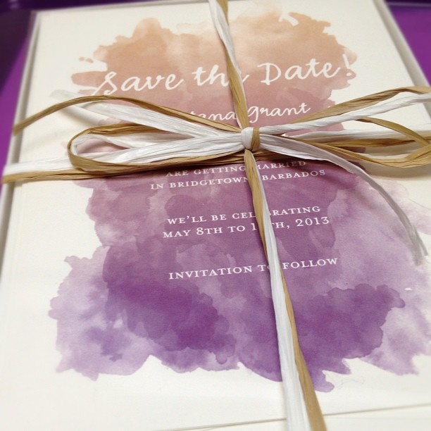 Purple Ombré Save the Date for a Bride in Canada!
