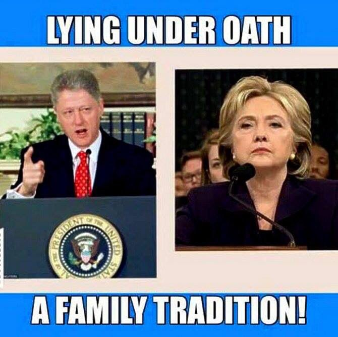 LYING under Oath and LYING to the American people!  A Clinton family tradition!  This should be no surprise if you have educated yourself on all the scandals and crimes the Clintons have been involved in for the last 30 or more years.
