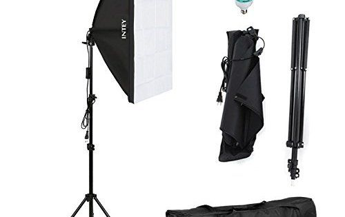 INTEY Photo Studio Softbox 50 x 70 cm avec Ampoule E27 de 85W, Kit d'éclairage Photographie avec Support Triangulaire et Sac de Protection,…