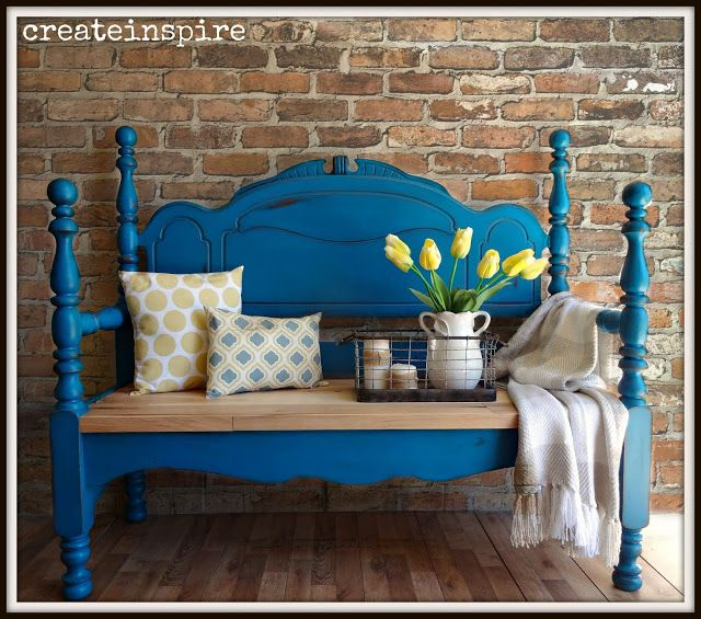 {createinspire}: Headboard Bench in Peacock Blue. Flooring used for the seat