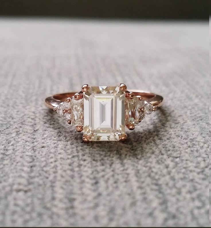 "Antique Moissanite and Diamond Engagement Ring Emerald Cut Baguette Flower Classic Rose Gold timeless PenelliBelle Exclusive ""The Margo"" by PenelliBelle on Etsy"