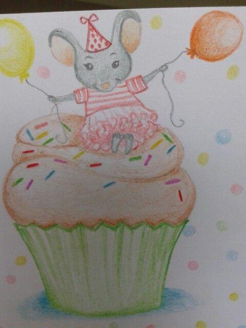 biglietto cupcake #draw#mouse#birthday