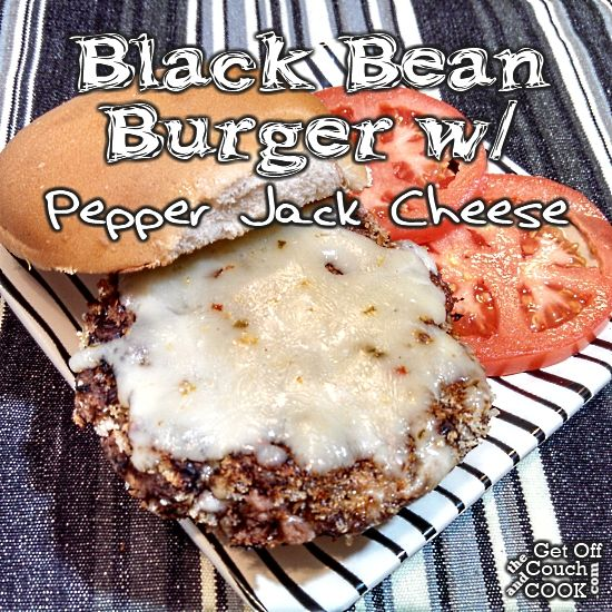 Black Bean Burger with Pepper Jack - Mashed black beans and cheese coated with panko breadcrumbs make for a perfect vegetarian alternative for a hamburger.  Don't want spicy?  Just substitute your favorite cheese for the pepper jack.