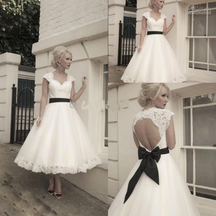 New Arrival A Line Sweetheart Cap Sleeve vintage Lace Tea Length Wedding Dresses With Black Bow Sashes