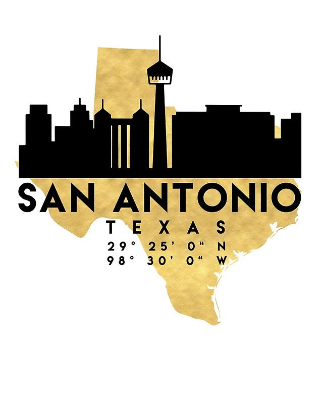 SAN ANTONIO TEXAS SILHOUETTE SKYLINE MAP ART -  The beautiful silhouette skyline of San Antonio and the great map of Texas in gold, with the exact coordinates of San Antonio make up this amazing art piece. A great gift for anybody that has love for this city.  san antonio texas downtown silhouette skyline map coordinates souvenir gold