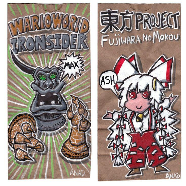 20140423#Sketch #lunchbags for my #sons. #videogames #art #drawing #anad #school #paint #markers #doodles #kids #bag #WarioWorld #Ironsider #TouhouProject #FujiwaraNoMokou #cartoon #anime #japan #manga #sketch #sketchlunchbag #MarioBros #VideoGames #cartoon #MacOS #PC #iOS #Android #app #XBox #Nintendo #WiiU #GameCube  http://en.m.wikipedia.org/wiki/Touhou_Project