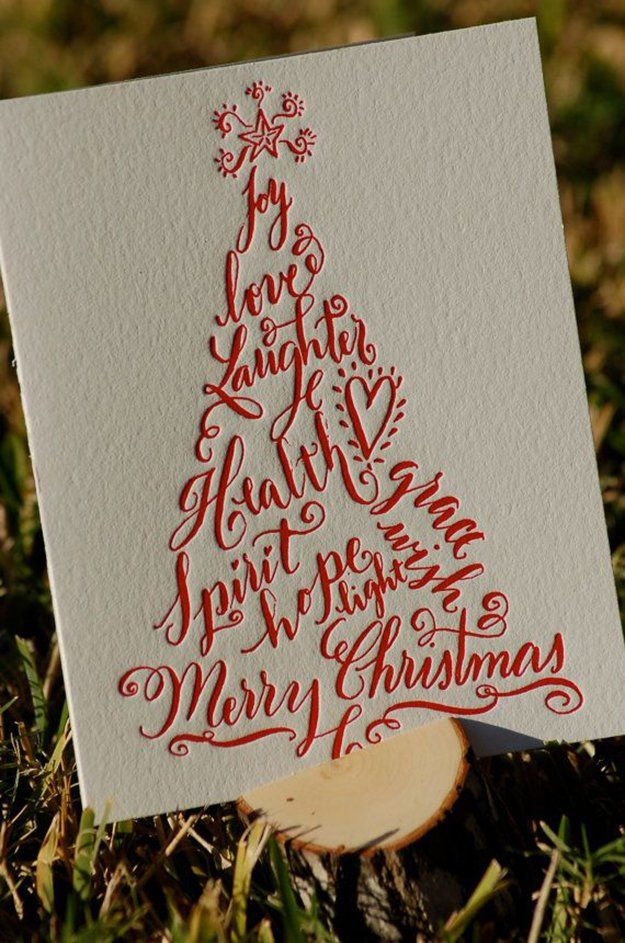22 Handmade Calligraphy Christmas Cards | DIY Christmas Cards at http://diyready.com/22-handmade-calligraphy-christmas-cards-diy-christmas-cards/