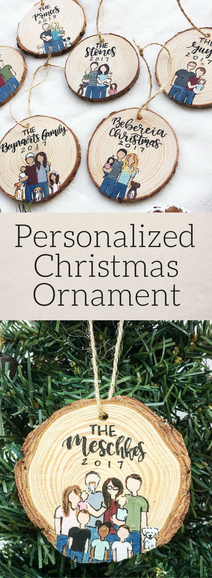 I'm so buying one of these custom Christmas ornaments!!!! Love that it has rustic Christmas charm..,. but also a little funky!  LOVE! Family Ornament, Custom Ornament, Personalized Christmas Gift, Christmas Ornament, Our First Christmas, Housewarming Gift, Christmas Gift for Her, Rustic Christmas #affiliate