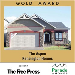 Award Winning Kensington Homes - a top rated new home builder in Winnipeg Manitoba - The Aspen - Gold Award