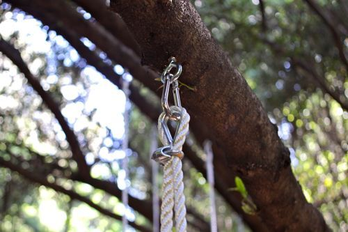 DIY Swing Tutorial   |   Design Mom: Swing hardware that allows swinging without wearing down the tree or the rope.
