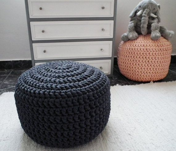 Charcoal / Dark Solid Gray Ottoman Pouf - Charcoal Crochet Floor Cushions Pouf - Ottoman Footstool Eco friendly Decor - Housewares    Wonderful dark