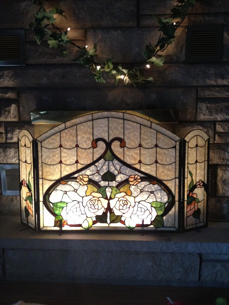 Stained Glass Fireplace Screen , So Elegant.