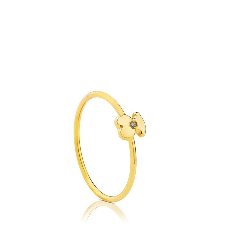 Złoty pierścionek z brylantem Tous Gold Somni