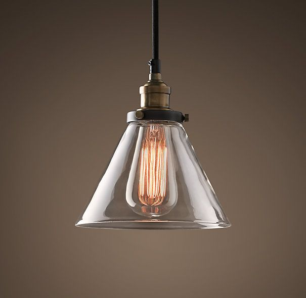 Restoration Hardware Glass Filament Pendant vintage steel pendant lamp for above kitchen table.