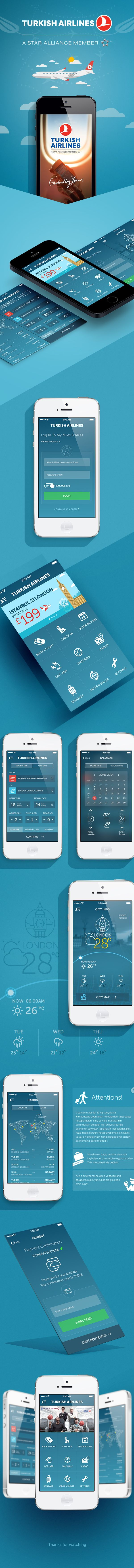 Turkish Airlines App Redesign by Murat Gürsoy, via Behance