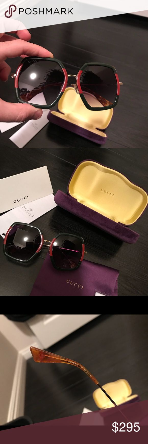 Gucci gg0106 s Sunglasses Authentic Please review pictures. These are AUTHENTIC Gucci sunglasses gg0106/s. Retail price $500+ at Bloomingdales. I will ship Immediately new to Poshmark i usually sell on eBay. Outstanding track record.  Dark black lense gradient. Frame is the Gucci colors as seen in photos listed. Gucci Accessories Sunglasses