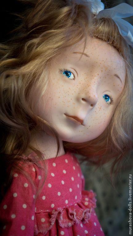 Купить Ягодное драже - коралловый, девочка, горошек, авторская ручная работа, авторская кукла