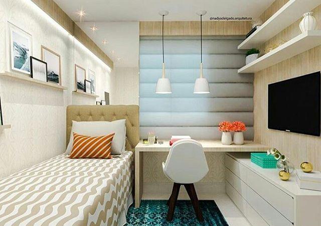 """844 curtidas, 13 comentários - Interiores e Arquitetura (@interioresinspira) no Instagram: """" Inspiração linda de quarto de solteiro por @nadyadelgado.arquitetura. Ambiente muito aconchegante…"""""""