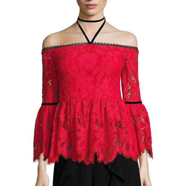 Alexis Grace Off-The-Shoulder Lace Top ($445) ❤ liked on Polyvore featuring tops, red, apparel & accessories, lace halter top, halter top, off the shoulder peplum top, 3/4 sleeve lace top and peplum tops