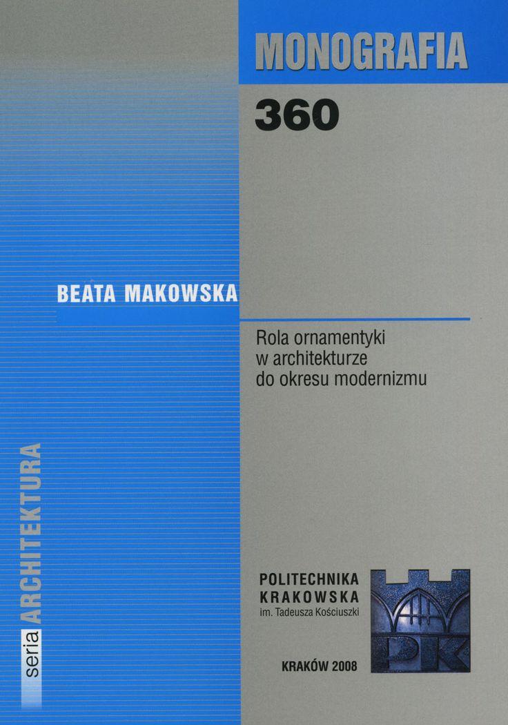 Księgarnia W-A.pl - Rola ornamentyki w architekturze do okresu modernizmu