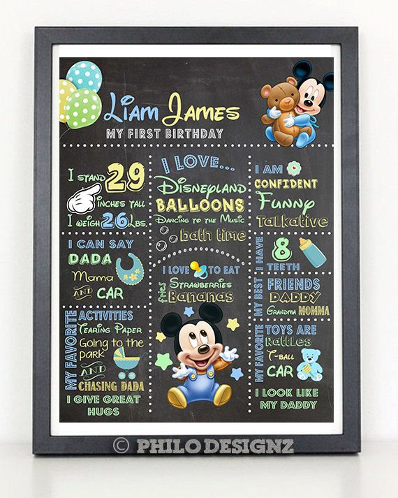 Baby Mickey Mouse 1st Birthday Chalkboard/Printable/First Birthday Sign, Plus Free 5x7 Invitation Card on Etsy, $20.00