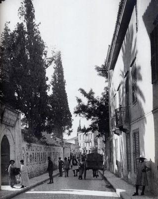 Οδός Αδριανού, Πλάκα. Ανάμεσα στους περαστικούς ένας φουστανελάς. Αριστερά, διαφήμιση τοίχου, δεξιά η σκιά ενός επιβλητικού φοίνικα (δεκαετία 1900)