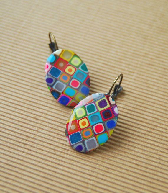 Colorful Earrings  Polymer Clay Earrings  Resin by FoffaHandmade