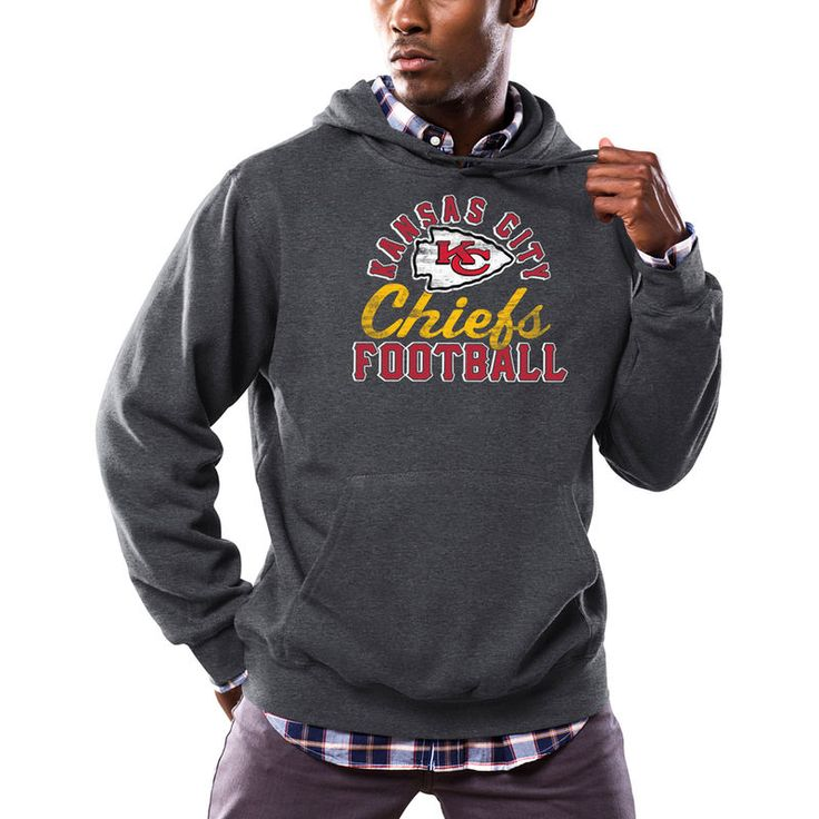 Kansas City Chiefs Majestic Kick Return Pullover Hoodie - Heathered Charcoal