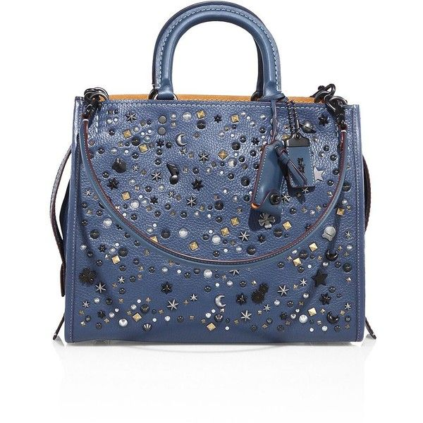 COACH 1941 Rogue Star-Studded Leather Tote (13.988.185 IDR) ❤ liked on Polyvore featuring bags, handbags, tote bags, apparel & accessories, blue, studded tote, blue tote, tote handbags, blue tote bag and studded leather purse