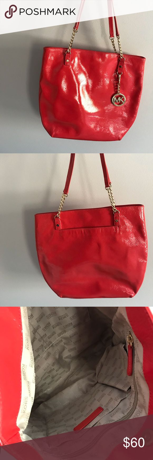 Authentic Michael Kors chain link shoulder bag Great pop of color to any outfit! Perfect for summer - orange shoulder bag. Michael Kors Bags Shoulder Bags