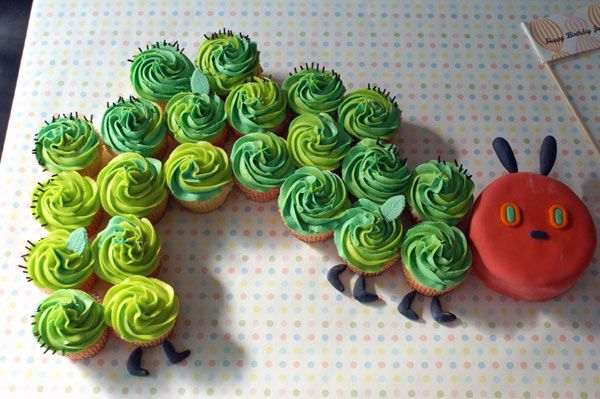 The Very Hungry Caterpillar cupcake cake