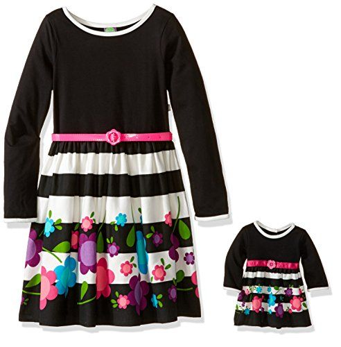 Dollie & Me Girls' Knit Striped with Floral Border Print Dress with Belt and Matching Doll Outfit - http://www.darrenblogs.com/2017/02/dollie-me-girls-knit-striped-with-floral-border-print-dress-with-belt-and-matching-doll-outfit/