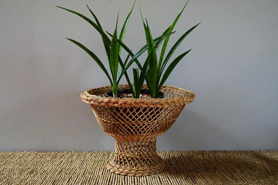 Mid Century Wicker Rattan Plant Stand/ Wicker Plant Stand/ Pedestal Plant Stand, Wicker Pedestal Basket Bowl