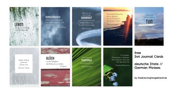 free 34 journal cards: deutsche Zitate // German phrases