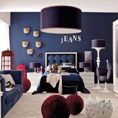 Cute boys bedroom in navy blue.