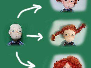 Хочу рассказать вам, как я делала волосы своим куклам Пеппи. Делала по принципу кукол Barbie или Sindy. У меня в детстве была настоящая Синди, у неё гнулись руки и ноги - это была мечта многих тогдашних девочек. А волосы у неё были только по контуру головы (посредине лысина), видимо для натуральности их количества)))) Я немного модернизировала данный способ, добавив пробор, и закрыв лысые участки.
