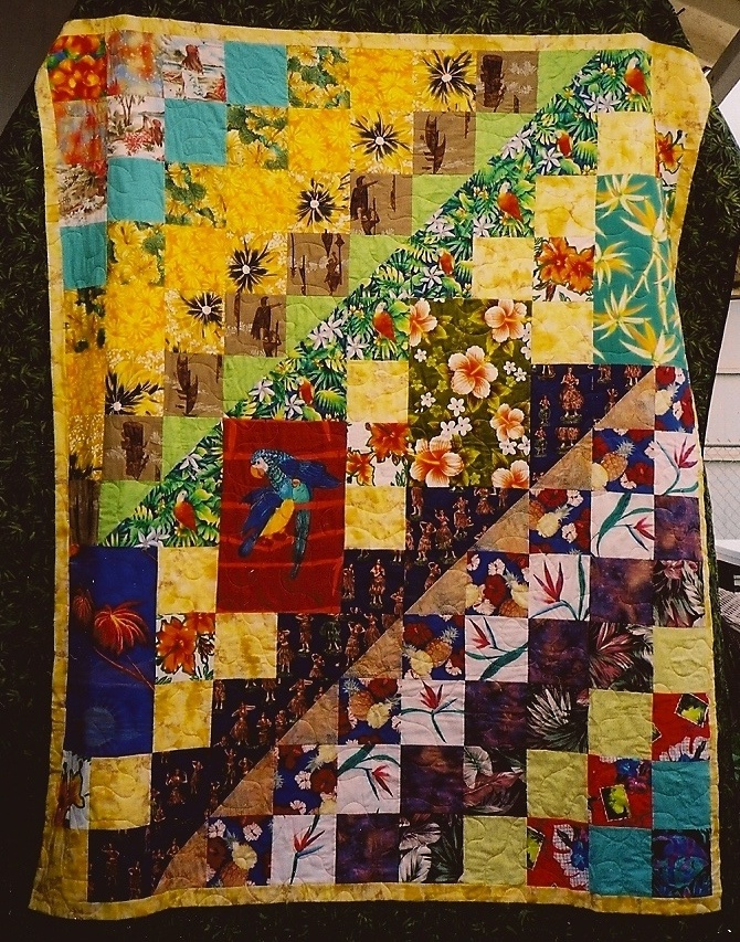 Hawaiian shirt quilt -- something to do with everyone's Hawaiian shirts after the rehearsal dinner?