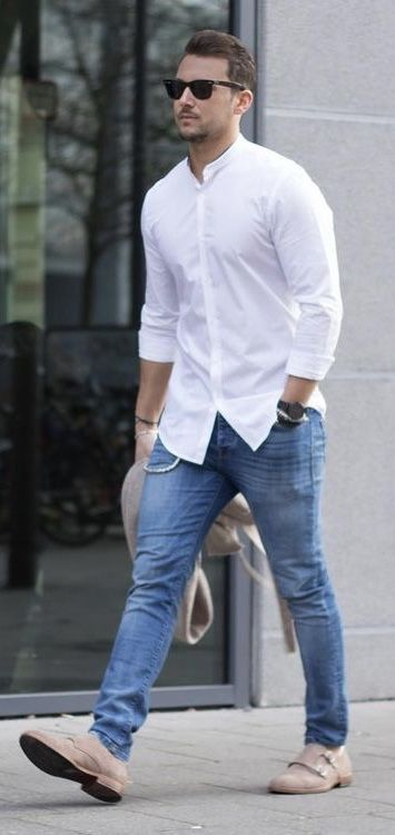 ff7d2959c7ff  sandro - with a summer outfit idea with a white banded collar shirt with  rolled up sleeves sunglasses blue jeans watch wrist accessories tan suede  double ...