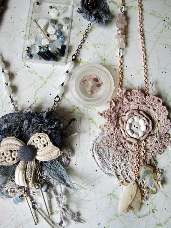 vintage textile collage pendants