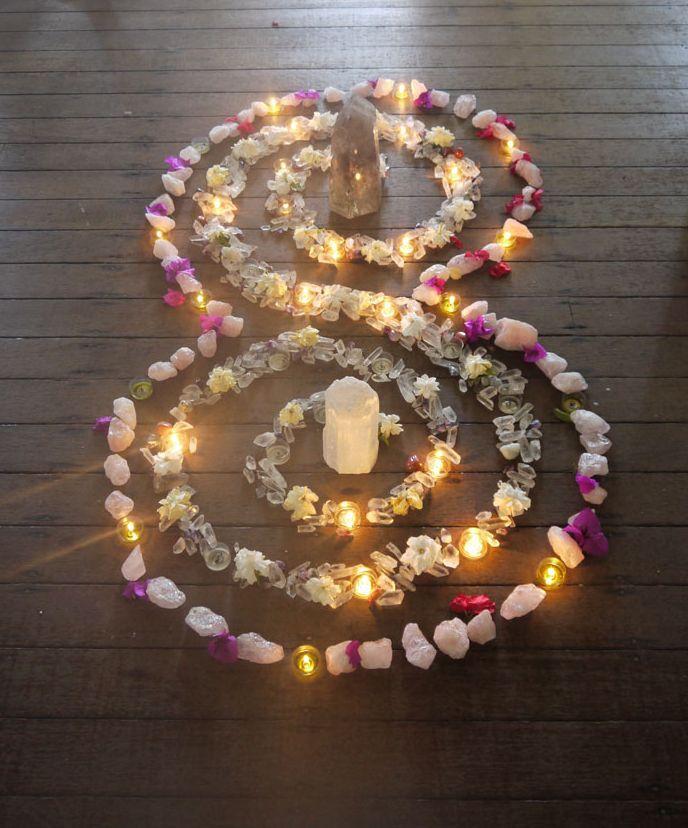 Crystals, flowers, & tea lights - by Raelene Byrne