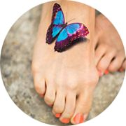 Butterfly Tattoo Design: On Foot In Color