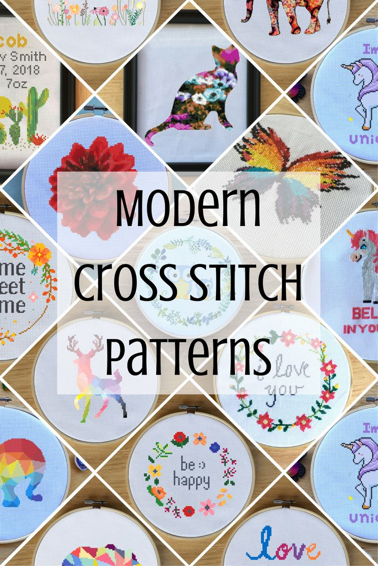 Modern cross stitch patterns that are awesome! Here is a collection of modern cross stitch patterns that are amazing cross stitch patterns. There are animal cross stitch patterns, colorful cross stitch, floral wreath cross stitch, unicorns, quotes, and more! You can find all of these cross stitch patterns at LeiaPatterns.com