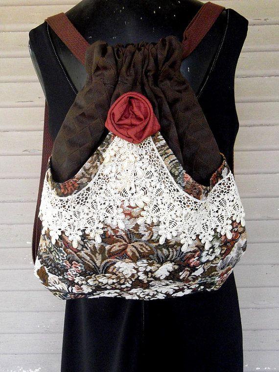 Backpack Victorian Lace, Tapestry and Rose  Mori Girl  Brown Backpack   Pocket  Handmade Rose  Black Velvet Victorian