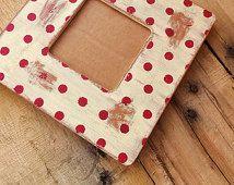 Rojo crema lunares, lunares rojo marco, agobiados rojo marco, ultrasonido, Navidad imagen marco, marco de fotos rojo