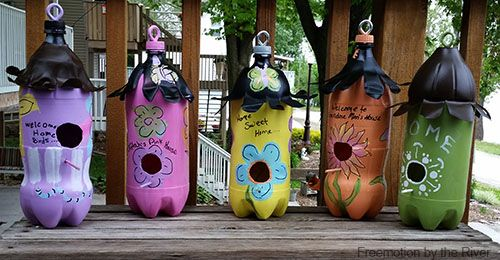 Freemotion by the River: DIY Soda Bottle Birdhouses  I conniekresin.com